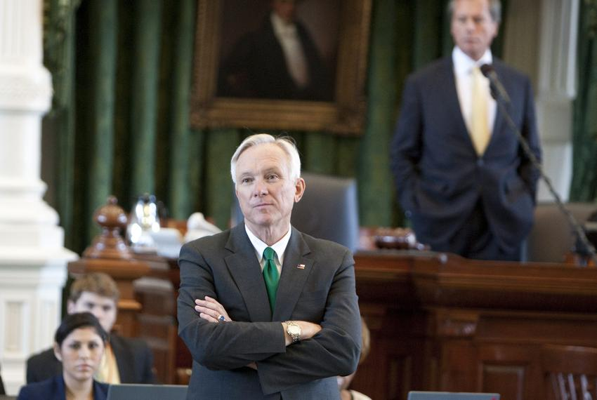 Sen. Steve Ogden, R-Bryan, chairman of the Senate Finance Committee, listens to comments during floor debate on the state bu…