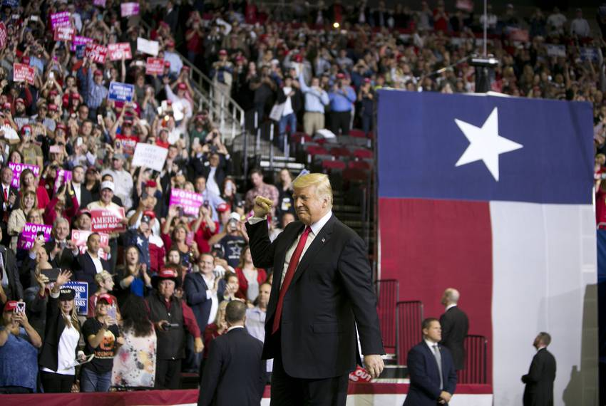 President Donald J. Trump at a MAGA rally at the Toyota Center in Houston on Monday, Oct. 22, 2018.