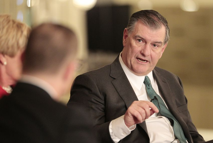 Dallas Mayor Mike Rawlings in a discussion with The Texas Tribune's Evan Smith and Fort Worth Mayor Betsy Rawlings on March 12, 2015.