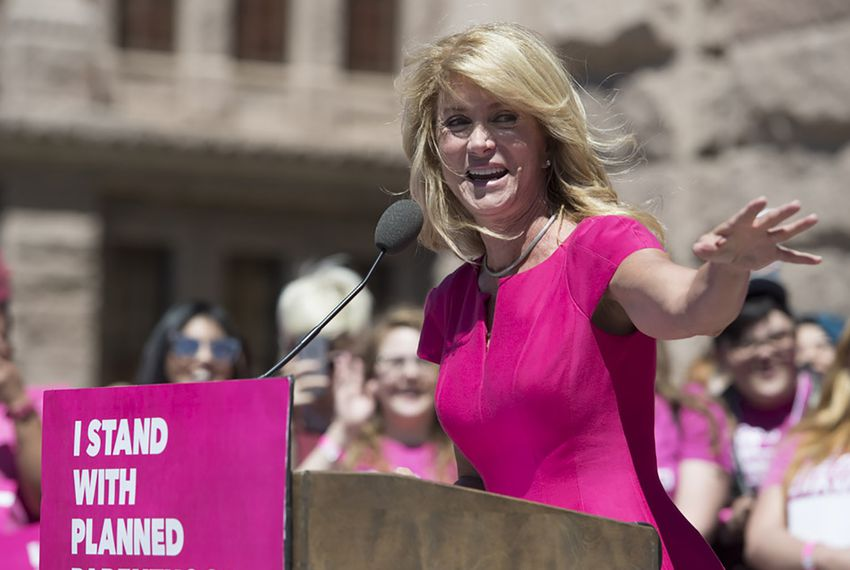 Former state Senator and gubernatorial candidate Wendy Davis speaks to Planned Parenthood supporters at the Capitol in Austin on April 5, 2017.
