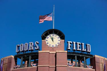 The clock tower at Coors Field before the Opening Day game between the Colorado Rockies and the Los Angeles Dodgers. April 1, 2021.