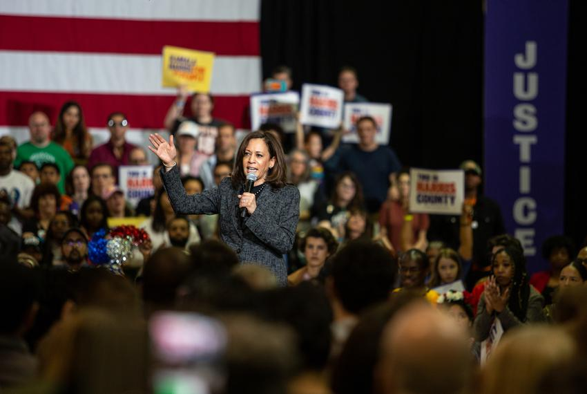 Democratic 2020 presidential candidate and Sen. Kamala Harris speaks during a campaign event at Texas Southern University on…