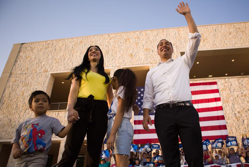 Julián Castro and his family wave to the crowd at a rally in San Antonio after an earlier visit by President Donald Trump, o…
