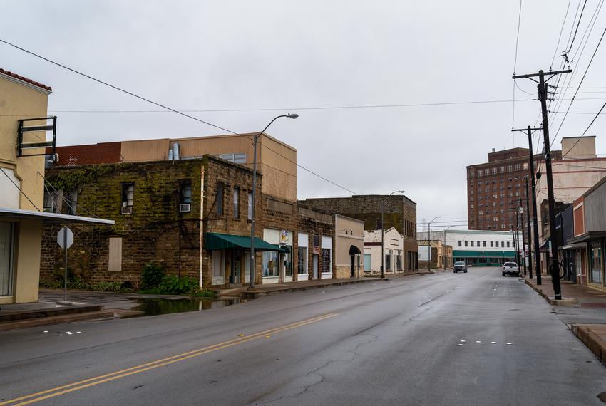Empty streets in downtown Brownwood, TX on Sep 9, 2020.