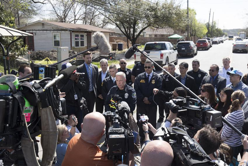 Austin interim Police Chief Brian Manley speaks at a press conference near the East Austin home of 75-year-old Esperanza Her…