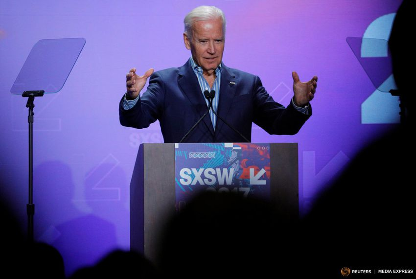 Former U.S. Vice President Joe Biden speaks about the Biden Cancer Initiative at South by Southwest in Austin on March 12, 2017.