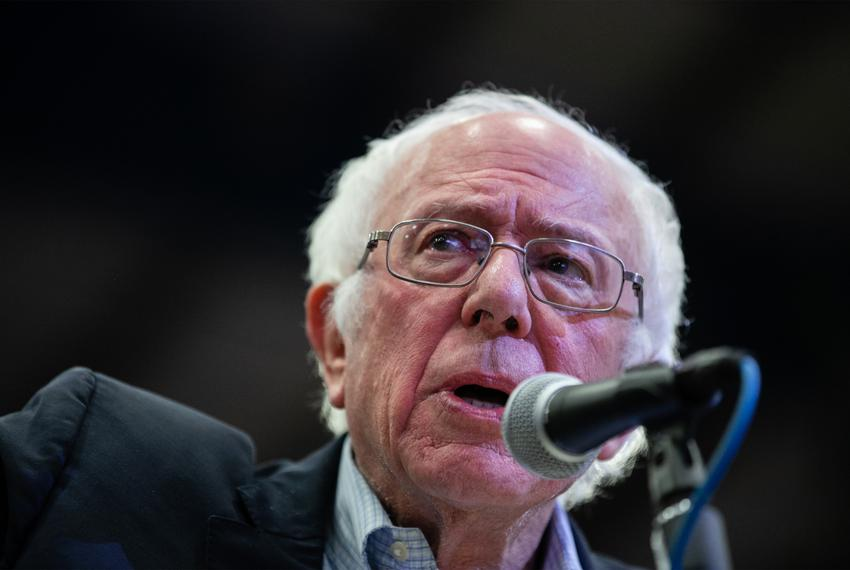 Bernie Sanders speaks to a crowd gathered at the Mesquite Rodeo Arena near Dallas for a campaign rally on Feb. 14, 2020.
