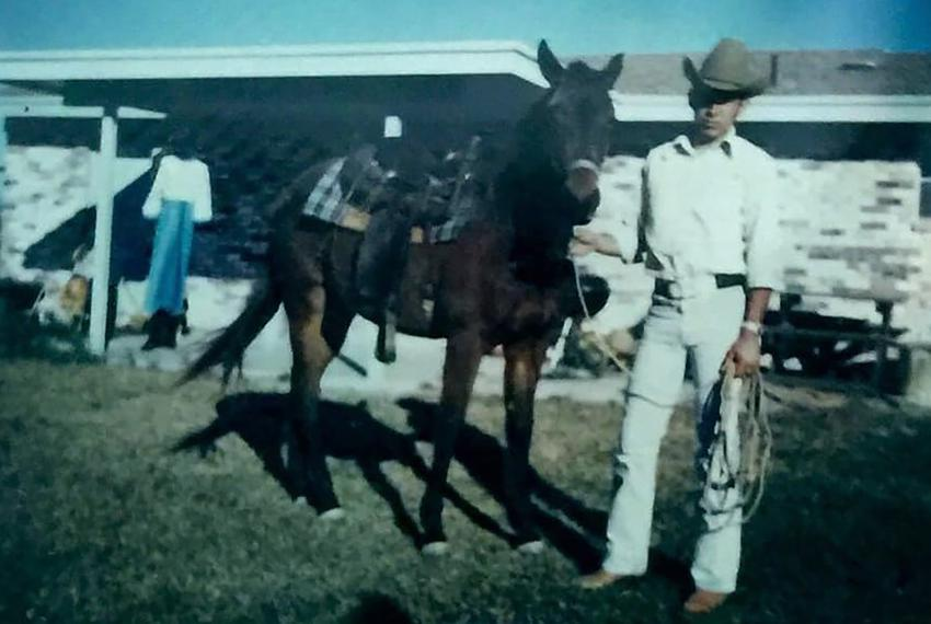 Alvarado with a horse in the 1970s.