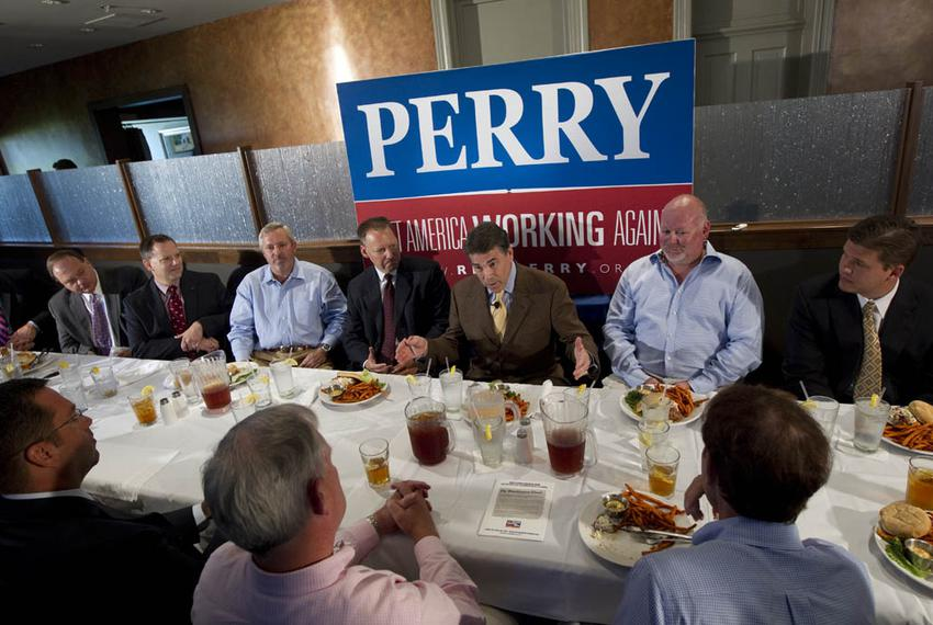 Governor Rick Perry lunches with Dubuque area business leaders on August 16, 2011.