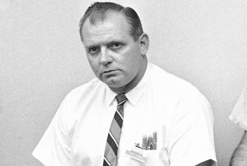 Allen Crum at a press conference on Aug. 2, 1966. Crum, an employee at an off-campus bookstore, joined police at the top o...