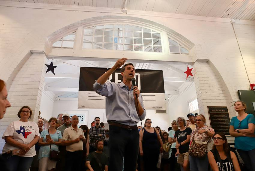 U.S. Rep. Beto O'Rourke, D\u002DEl Paso, speaks to his Gainesville supporters at the Historic Santa Fe Train Depot in Cooke County on June 9, 2018.