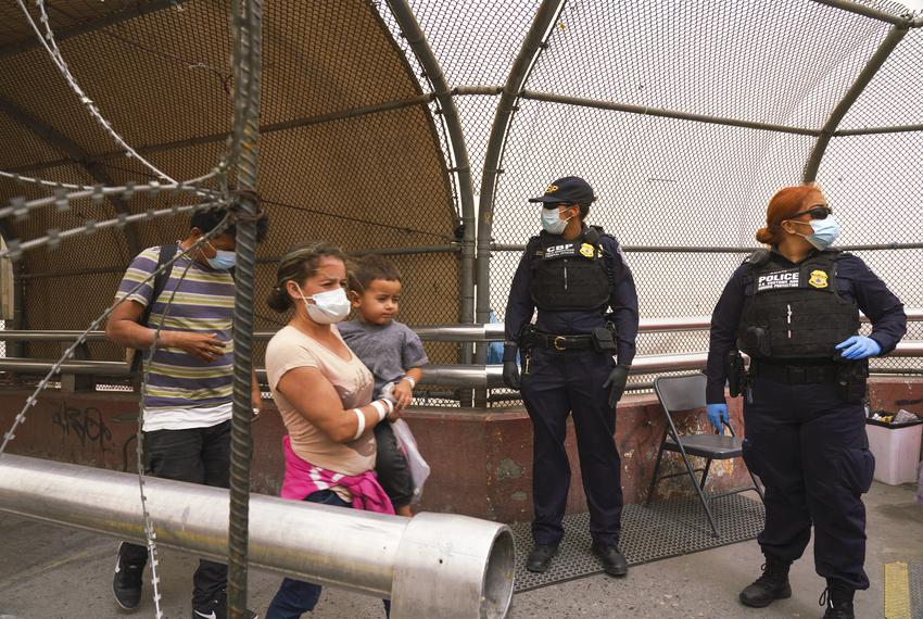 Migrants from Central America that were apprehended crossing the Rio Grande in Brownsville were flown to El Paso for process…
