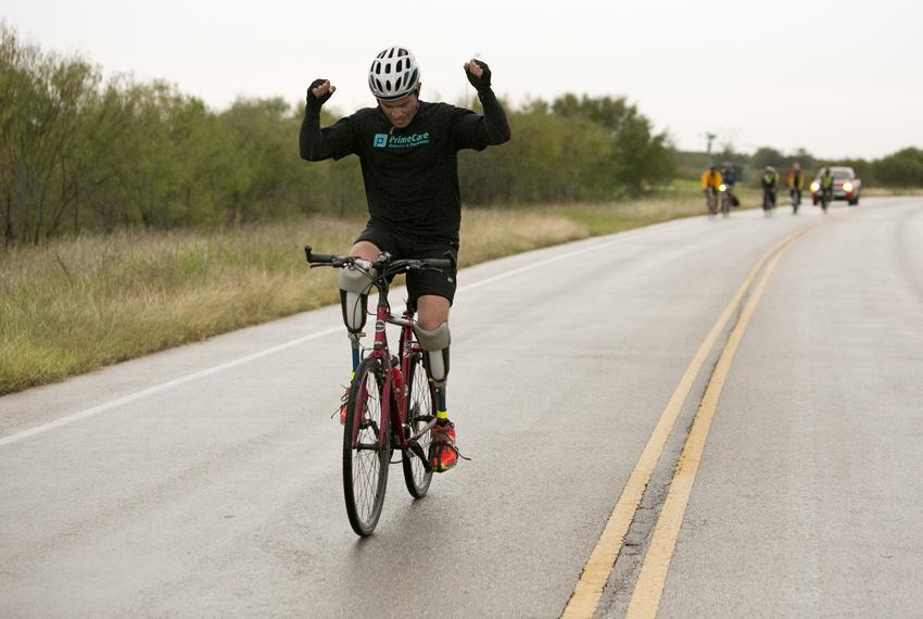 Gutierrez celebrates as he nears the end of his ride across Texas. He said he wanted to do something inspiring as he waited …