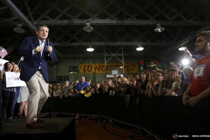 Republican U.S. presidential candidate Ted Cruz spoke on April 26, 2016, to supporters in Knightstown, Indiana, during a ral…