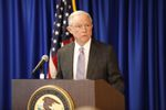 U.S. Attorney General Jeff Sessions speaks about carrying out President Donald Trump's immigration priorities at the U.S. Attorney's Office for the Western District of Texas in Austin on Friday, Oct. 20, 2017.