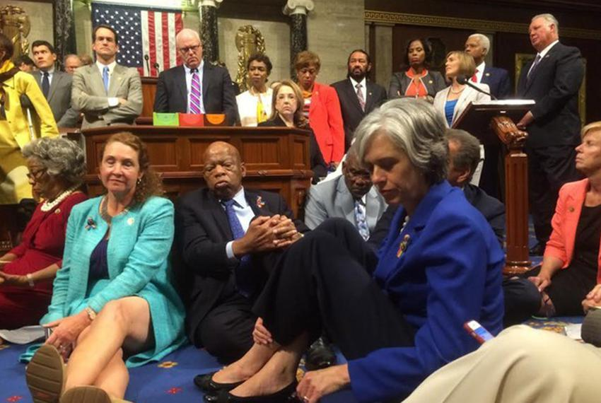 A photo shot and tweeted from the floor of the House by U.S. Rep. Katherine Clark, D-Massachusetts, shows Democratic House m…
