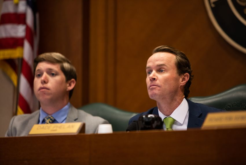 Texas House State Affairs Committee Chairman Dade Phelan, R-Beaumont, listens to testimony during a committee hearing in February.