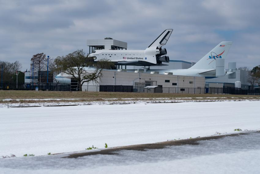 A view of Space Center Houston on Feb. 15, 2021, in Houston. A rare snowfall blanketed the city as well as other parts of Te…