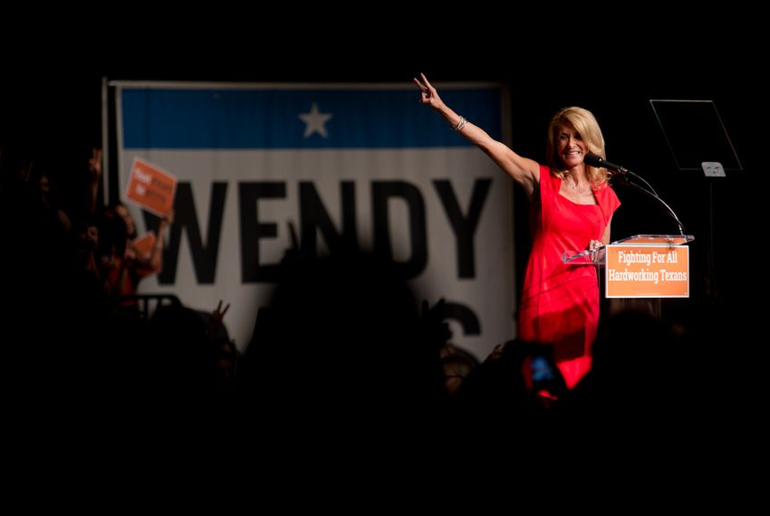 Wendy Davis addresses her supporters at the filibuster anniversary celebration hosted by her campaign.
