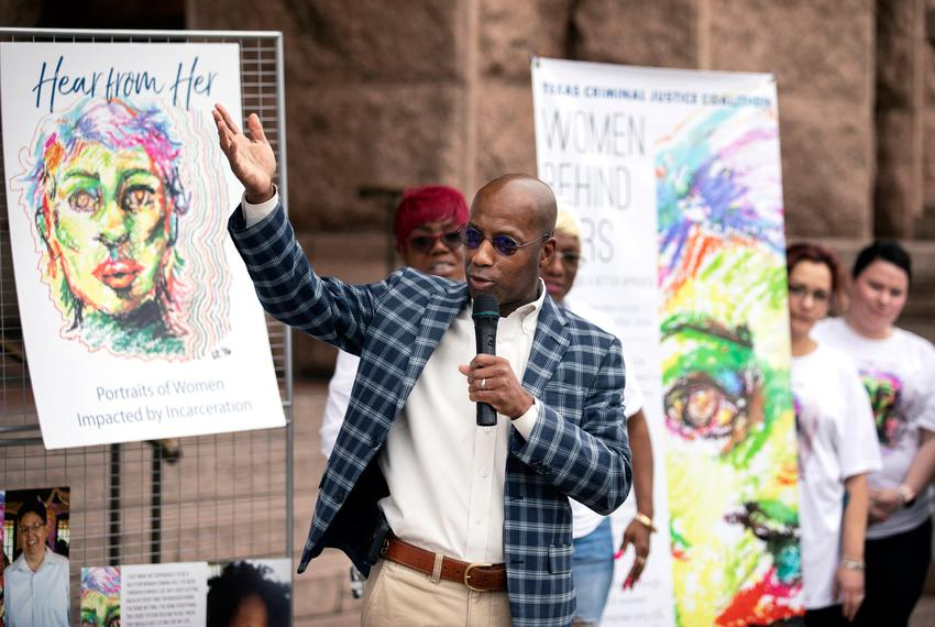 Rep. James White, R-Hillister, speaks at the  Women's [In]Justice Day rally on the south steps of the Capitol on March 8, 20…