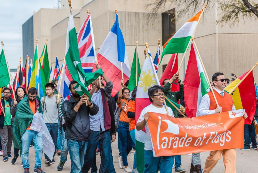 The Parade of Flags at the 2017 UT-Dallas Homecoming Parade.