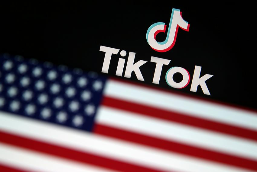An illustration of a U.S. flag in front of the Tik Tok logo.