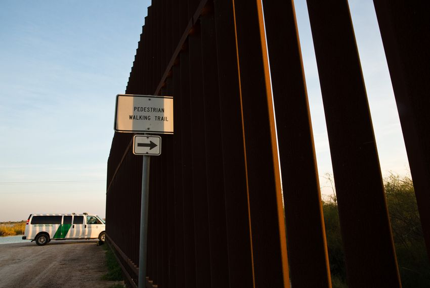 A section of border fence in Hidalgo that runs between a national wildlife refuge and a local nature center ends abruptly when federal land stops.