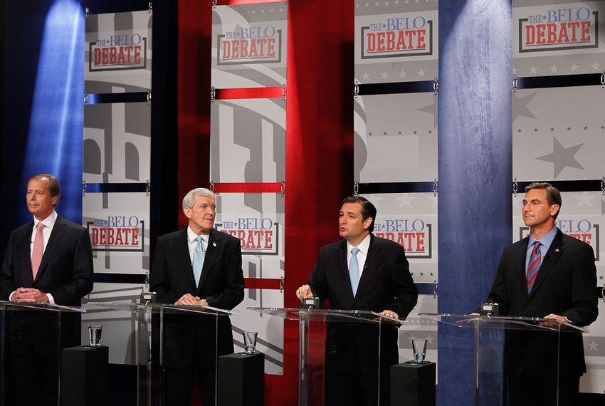 David Dewhurst, Tom Leppert, Ted Cruz and Craig James in Dallas at a U.S. Senate debate on April 13, 2012.