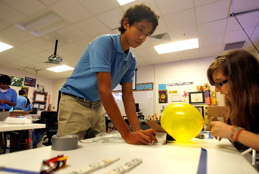 Sophomore student Miguel Nava works on a science experiment at the San Juan Idea Public Schools Tuesday morning in San Juan,…