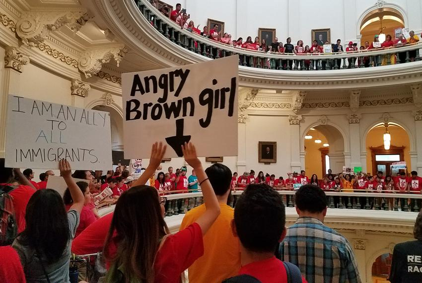 "On the last day of the 85th legislative session, protesters opposed to Senate Bill 4 — the ""sanctuary cities"" law — fill u..."