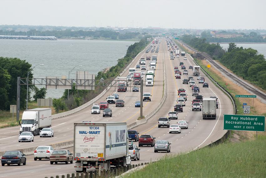 Traffic on I-30 on the eastern side of Lake Ray Hubbard in Rockwall on June 6. A proposed private tollway to relieve traff...