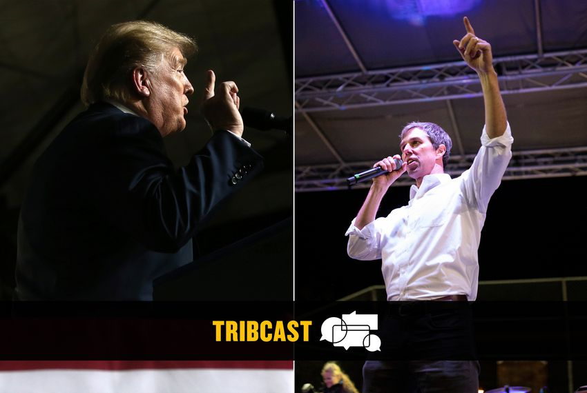 President Donald Trump and former U.S. Rep. Beto O'Rourke at their respective rallies in El Paso on Feb. 11, 2019.