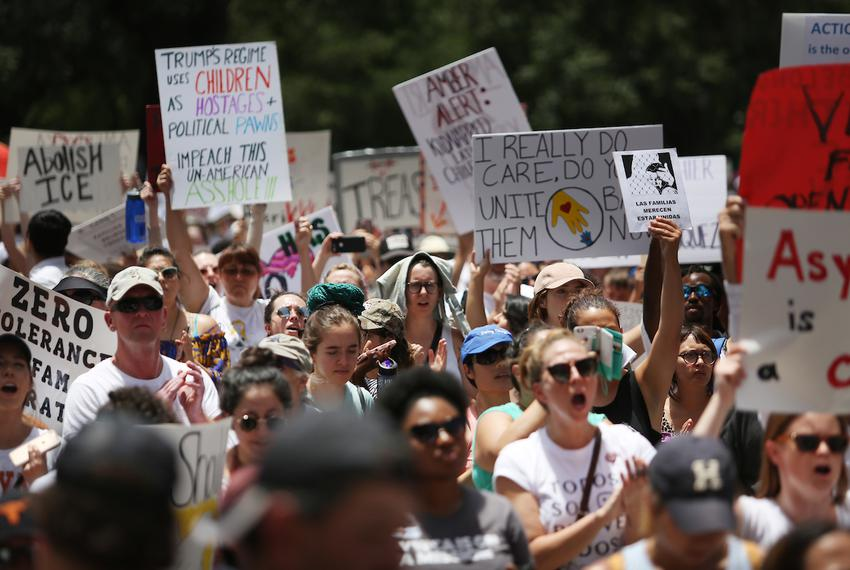 "Thousands of demonstrators gathered at the Capitol for the ""Families Belong Together"" rally on June 30, 2018, to protest P..."