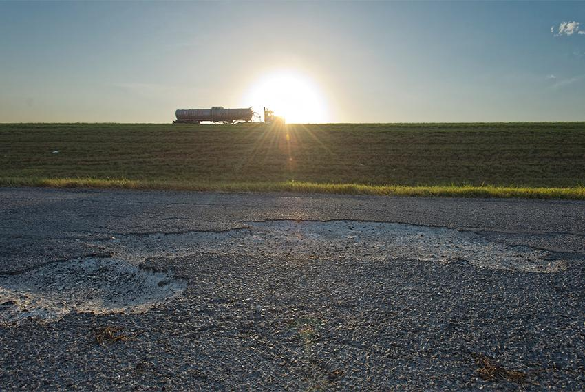 A damaged portion of the IH 37 frontage road, south of  FM 99 in Live Oak County, Texas on Friday, August 16, 2013. The ro...