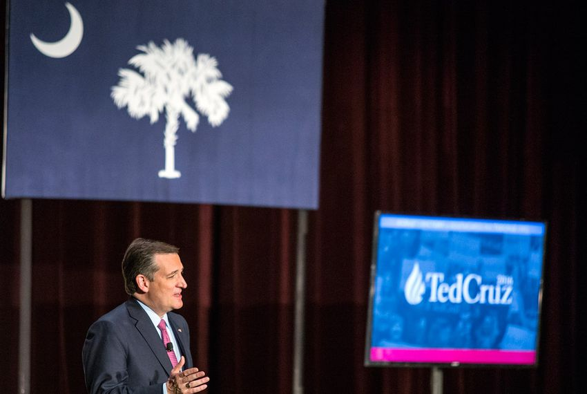 Senator Ted Cruz speaks about his qualifications as future president during a rally at a packed Sottile Theatre in Charleston, S.C., Friday, Feb 19, 2016.