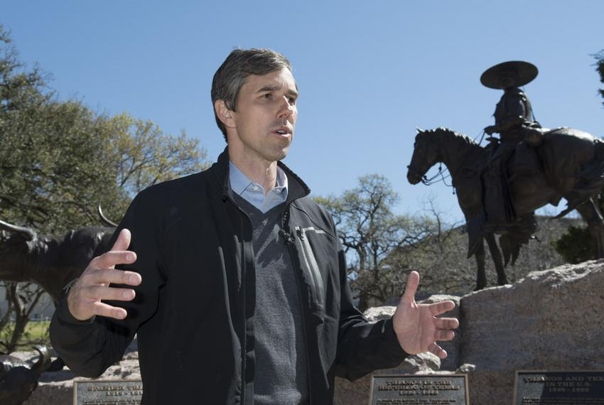 U.S. Congressman Beto O'Rourke, D-El  Paso, stands at the Mexican-American Heritage Monument at the Texas Capitol prior to...