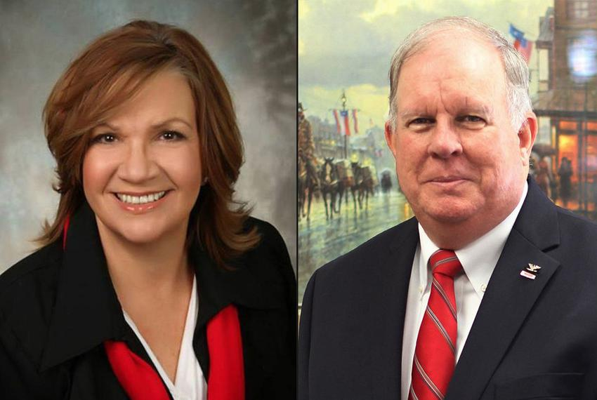 Molly White, left, and Hugh Shine, right, face off in state House District 55.