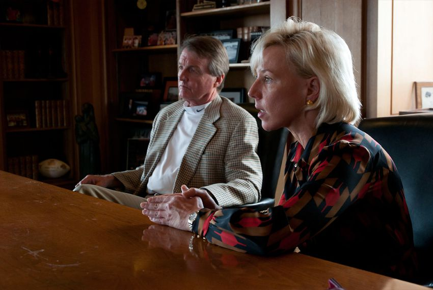 Stefanie Lindquist, Interim Dean of the University of Texas School of Law with William Powers, President of The University of Texas at Austin - Dec. 14, 2011