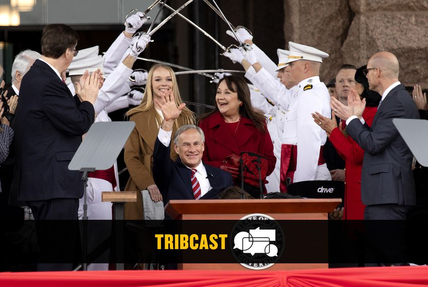 Gov. Greg Abbott approaches the podium to be sworn in to his second term as governor of Texas on Jan. 15, 2019. Behind him is his daughter Audrey and wife Cecilia. Lt. Gov. Dan Patrick (left) and House Speaker Dennis Bonnen right) are applauding.