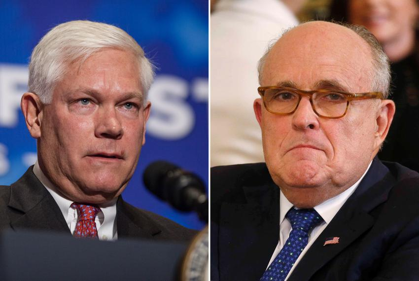 U.S. Rep. Pete Sessions, R-Dallas (left), and former New York City Mayor Rudy Giuliani.