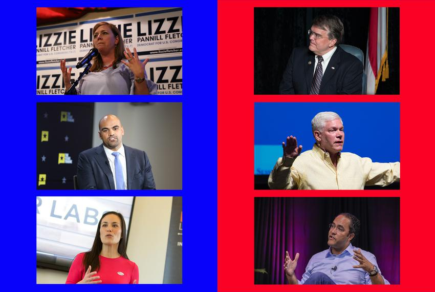 Top: Lizzie Pannill Fletcher, Democratic challenger for CD-7 and U.S. Rep.  John Culberson, R-Houston; middle: Colin Allred, Democratic challenger for CD-32 and U.S. Rep. Pete Sessions, R-Dallas; bottom: Gina Ortiz Jones, Democratic challenger for CD-23 and U.S. Rep. Will Hurd, R-Helotes.