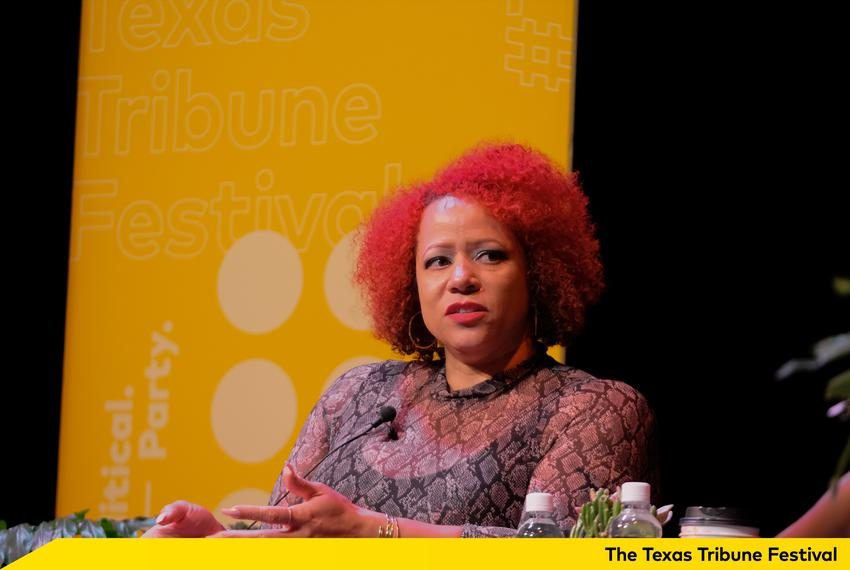 Nikole Hannah-Jones spoke with Errin Haines during a one-on-one panel at The Texas Tribune Festival at The Paramount Theat...