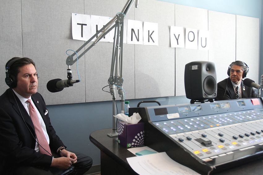 Brian McCall, chancellor of the Texas State University System, and Ricardo Maestas, president of Sul Ross State University, during a joint interview at Marfa Public Radio in Marfa, TX.
