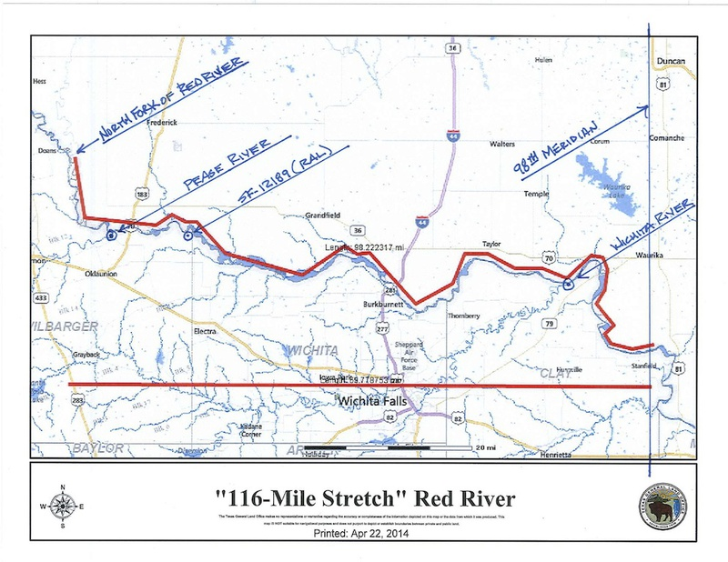 Map of disputed 116-mile stretch of the Red River.