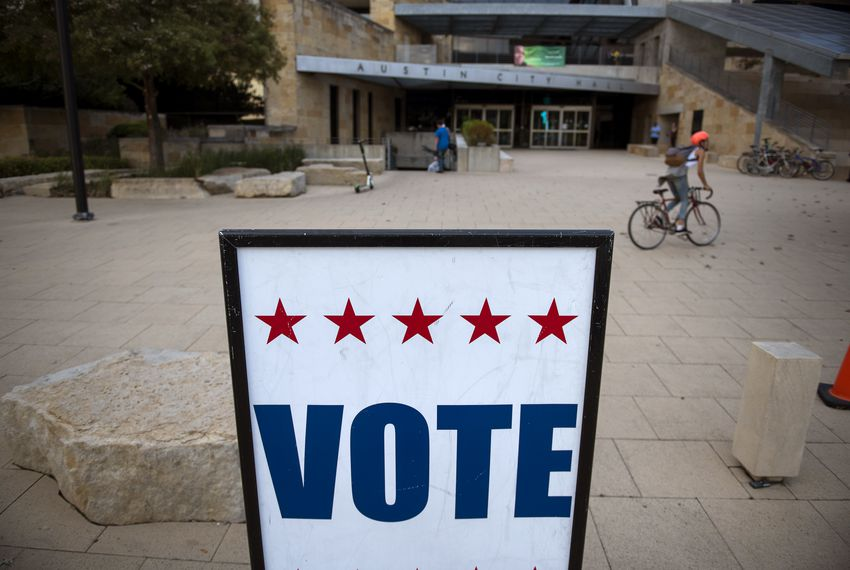 A voting sign outside Austin CIty Hall on Election Day, Nov. 5, 2019.
