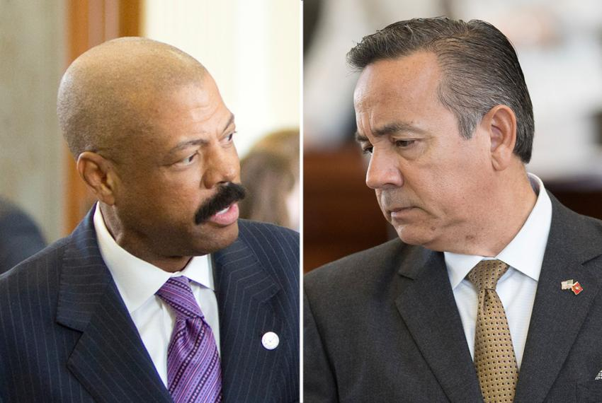 State Sens. Borris Miles, D-Houston (left), and Carlos Uresti, D-San Antonio.