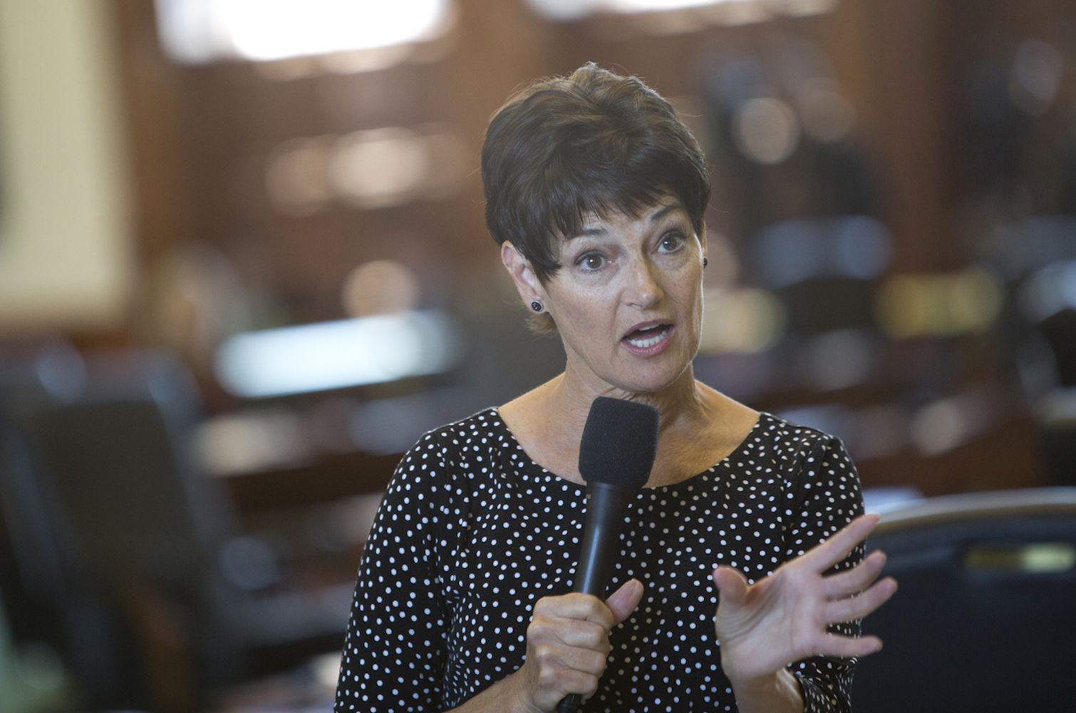 Sen. Donna Campbell, R-New Braunfels, answers questions about Senate Bill 6 on July 26, 2017.