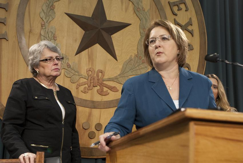 Former gubernatorial candidate Debra Medina speaks at the Texas Capitol about crony capitalism, joined by Janet Ahmad of Hom…