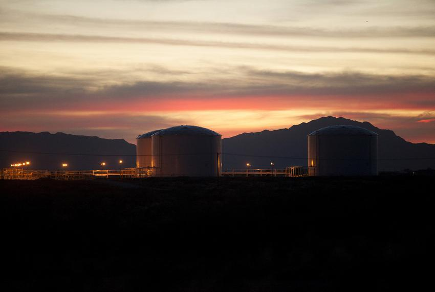 Seen is the Longhorn Pipeline petroleum tank storage terminal in the Montana Vista community in far East El Paso, Texas on A…