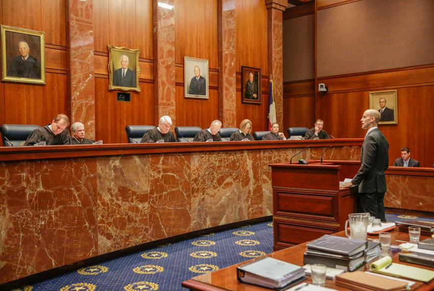 Texas Solicitor General Scott Keller addresses the state Supreme Court Sept. 1, 2015 during oral arguments in the latest s...